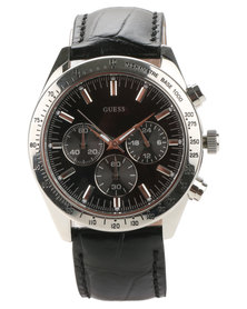 Guess Chase Leather Strap Watch Black