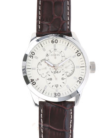 Guess Mens Newport Round Silver Watch With Leather Strap Brown