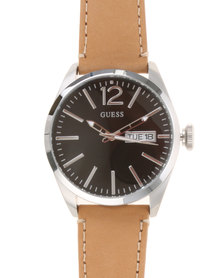 Guess Mens Vertigo Black and Silver Dial Watch With Leather Strap Bronze-tone