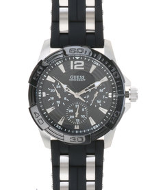 Guess Mens Oasis Round Silver with Strap  Black & Silver