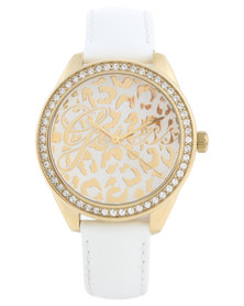 Guess Mini Wild Round Dial Leather Strap Watch White