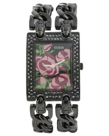 Guess Floral Rectangle Dial Watch Black