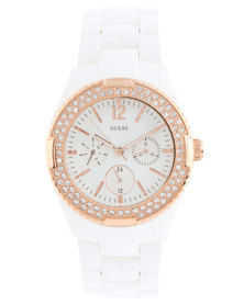 Guess Rock Candy Diamante Dial Dial Watch White Gold