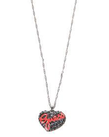 Guess Pave Heart Pendant Necklace Black