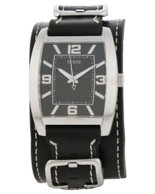 Guess Power Up Leather Cuff Watch Black