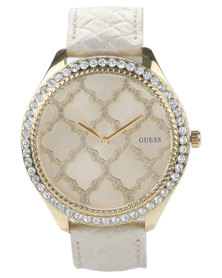 Guess Majestic Trellis Dial Watch Nude