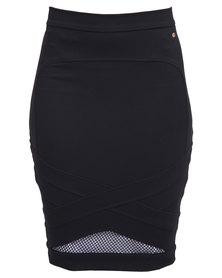 Guess Mesh Bodycon Pencil Skirt Jet Black