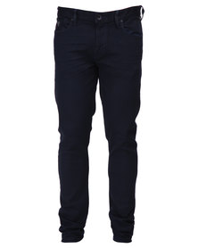 Guess Slim Taper Denim Jeans With Painted Canyon Wash Blue