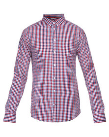 Guess L/S Branded Gingham Shirt Red