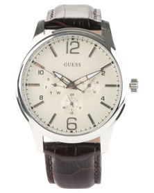 Guess Captain Leather Strap Watch Brown