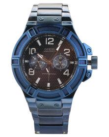 Guess Rigor Metal Strap Watch Blue