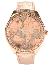 Guess Wonderland Leather Strap Watch Rose Gold