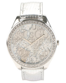 Guess Wonderland Leather Strap Watch Silver-Tone
