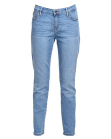 Guess Power Curvy Mid Rise Jeans In Ciola Wash Blue