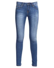 Guess Power Curvy Mid Denim Jeans In Medium Repetition Wash Blue