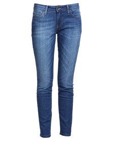 Guess Power Curvy Mid Denim Jeans In Chula Vista Wash Blue