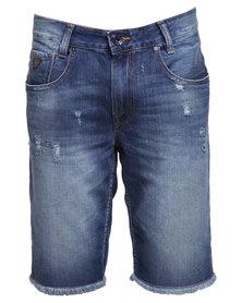 Guess Alameda Wheeler Wash Denim Shorts Blue