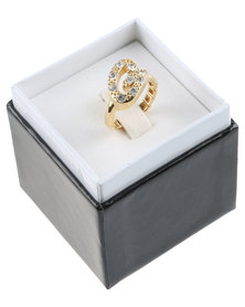 Guess Stretch Ring Gold-Tone