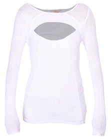 Guess L/S Net Stitch Cut-Out Pullover White