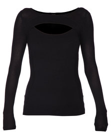 Guess L/S Net Stitch Cut-Out Pullover Jet Black