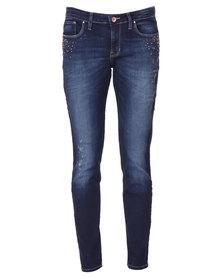 Guess Power Skinny Low Rise Jeans in Dark Worn Indigo Wash