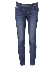 Guess Ladies Skinny Low Rise Jeans Blue