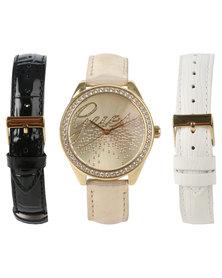 Guess Little Party Girl Interchangable Strap Watch Set Gold