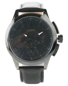 Guess Journey Leather Strap Watch Black
