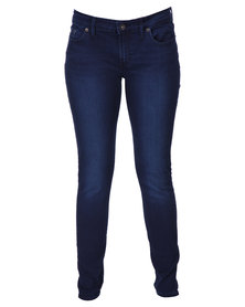 Guess Skinny Low Rise Denim Jeans In Ultimate Wash Blue