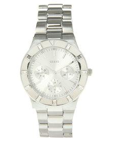 Guess Glisten Round Dial Bracelet Strap Watch Silver