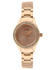 Guess Mini Pixie Diamante Trim Watch Rose Gold