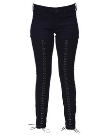 Guess Low Rise Lace-Up Jeggings Black