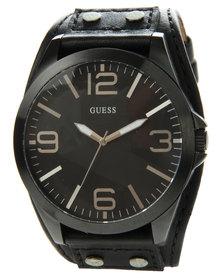 Guess Breakthru Vintage Cuff Watch Black