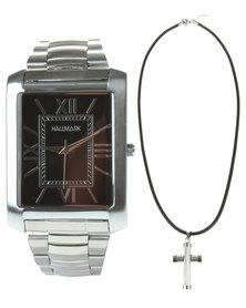 Hallmark Watch & Cross Pendant Necklace Set Silver