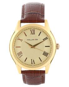 Hallmark Gold-Tone Dial Strap Watch Brown