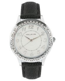 Hallmark Diamante Dial Black Strap Watch