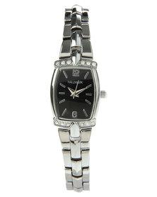 Hallmark Square Dial Diamante Trim Watch Silver-Tone