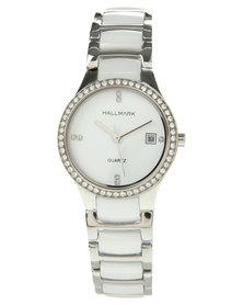 Hallmark Round Face Silver Swarovski Watch White