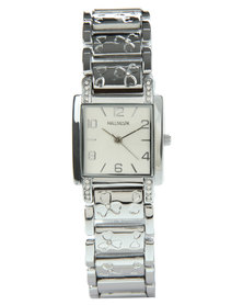 Hallmark Square Dial Flower Detail Earring Bracelet and Watch Set Silver-Tone