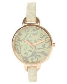 Hallmark Trailing Leaf Dial Watch Cream