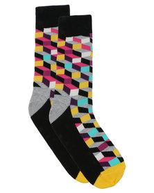 Happy Socks Filled Optic Socks Grey Multi
