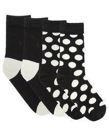 Happy Socks Monochrome Big Dots Socks Black