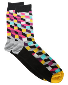 Happy Socks Filled Optic Socks Grey