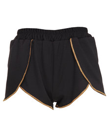 Hashtag Selfie Gold Trimmed Sporty Shorts Black