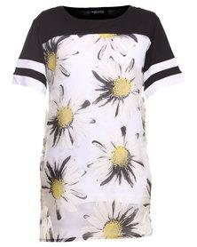 Hashtag Selfie Daisy Peek T-Dress Black/White