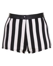 Hashtag Selfie Strype Highwaisted Shorts Black/White