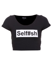 Hashtag Selfie Selfish Cropped Top Black