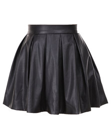Hashtag Selfie Playful Pleather Skirt Black