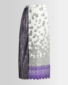 HASHTAG SELFIE Silver Panel Border Maxi Skirt Silver Purple