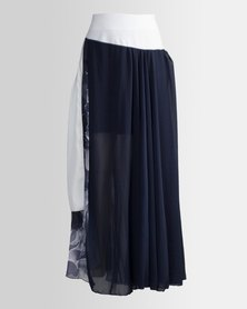 HASHTAG SELFIE Maxi Flared Gypsy Skirt Navy Floral